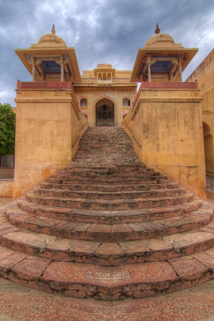 An impressive stairway to the Courtyard